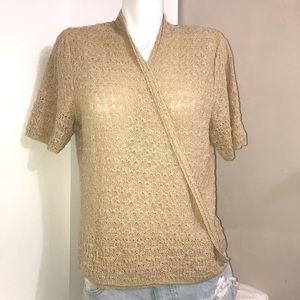 Jones New York Warm Tan Short SleevedKnit Cardigan